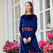 Одежда ручной работы. Ярмарка Мастеров - ручная работа Бархатное платье синее. Handmade.