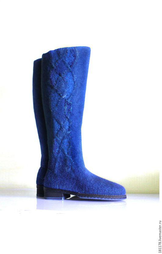 """Обувь ручной работы. Ярмарка Мастеров - ручная работа. Купить Валяные сапожки """"Глубина"""". Handmade. Синий, океан"""
