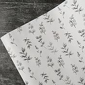 """Упаковочная бумага ручной работы. Ярмарка Мастеров - ручная работа Упаковочная бумага """"Чёрные листья на белом"""". Handmade."""