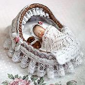 Куклы и игрушки ручной работы. Ярмарка Мастеров - ручная работа Люлька для мини-малыша (1:12). Handmade.