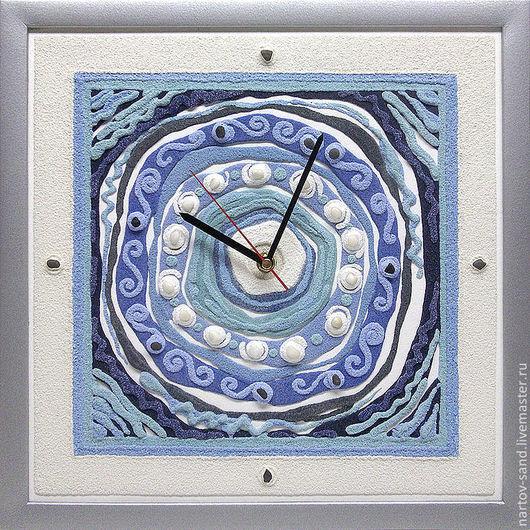 """Часы для дома ручной работы. Ярмарка Мастеров - ручная работа. Купить """"ЛАЗУРЬ"""" из песка авторские часы. Handmade. Голубой, Фактурный"""