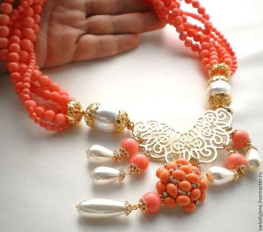 Колье, бусы ручной работы. Ярмарка Мастеров - ручная работа. Купить DOLCE ROSA Колье (СерьгиКольцо) розовые кораллы жемчуг. Handmade.