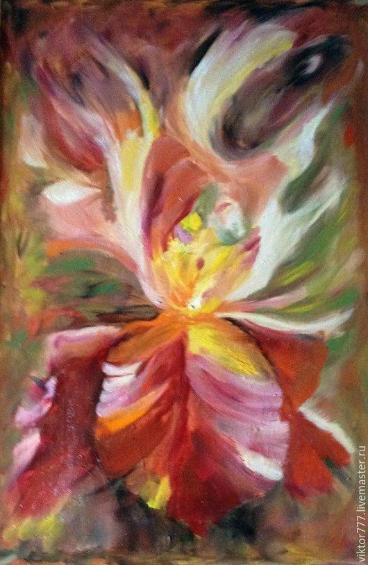 Картины цветов ручной работы. Ярмарка Мастеров - ручная работа. Купить Ирис настроение.... Handmade. Бордовый, красочный, холст на картоне