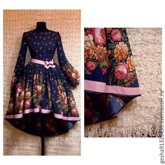"""Платья ручной работы. Ярмарка Мастеров - ручная работа. Купить Платье """"Ночные цветы"""" штапель пышное. Handmade. Разноцветный"""