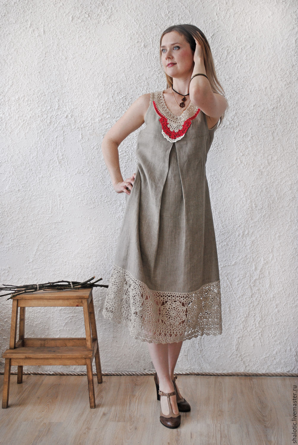 A linen dress in the Russian style, linen dresses and tunics, dresses with lace, hand-work, author Julia Linen tale