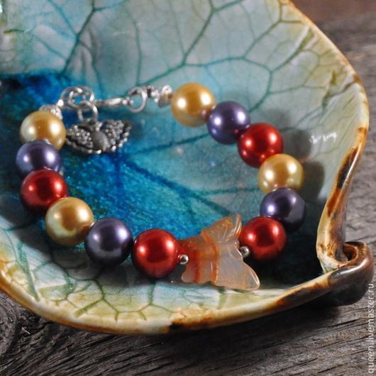 бабочка, бабочки, браслет из жемчуга, жемчужный браслет, браслет с жемчугом, лето, летний, лесной, лес.