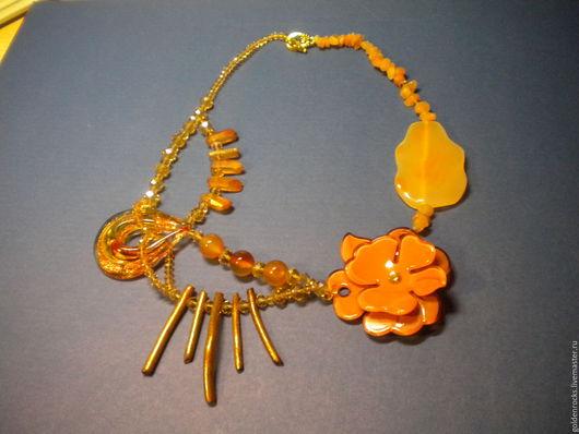 Колье, бусы ручной работы. Ярмарка Мастеров - ручная работа. Купить Золотая осень. Handmade. Рыжий, сердолик, золотистый кварц