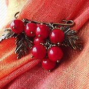 Украшения handmade. Livemaster - original item Brooch pin Red currant red coral. Handmade.