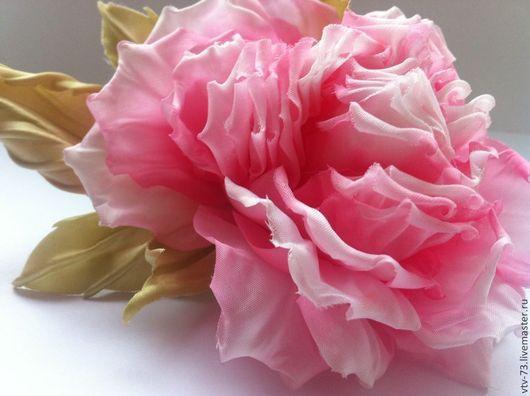 """Цветы ручной работы. Ярмарка Мастеров - ручная работа. Купить Брошь из натурального шелка. """"Леди ШАРМ!. Handmade. Розовый"""