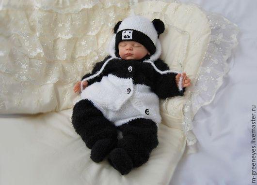 """Для новорожденных, ручной работы. Ярмарка Мастеров - ручная работа. Купить Комплект """"Бамбуковый мишка Пандик"""". Handmade. Панда"""