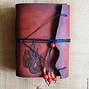 """Канцелярские товары ручной работы. Ярмарка Мастеров - ручная работа кожаный блокнот """"огонь"""". Handmade."""