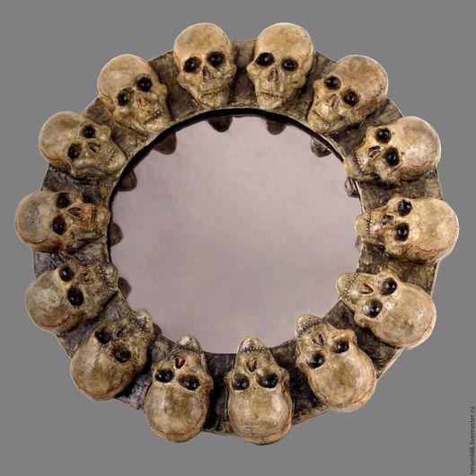 Зеркала ручной работы. Ярмарка Мастеров - ручная работа. Купить зеркало. Handmade. Комбинированный, череп, необычный подарок, зеркало, лак