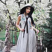 Одежда handmade. Livemaster - original item Long linen sundress with embroidery