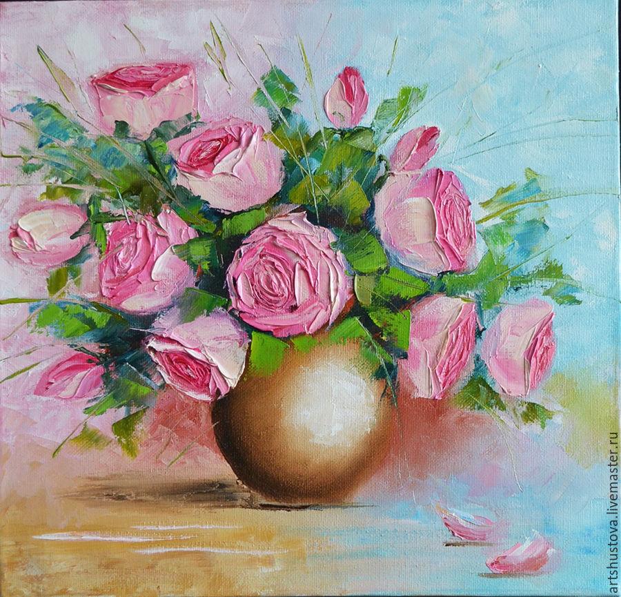 Розы мастихином маслом