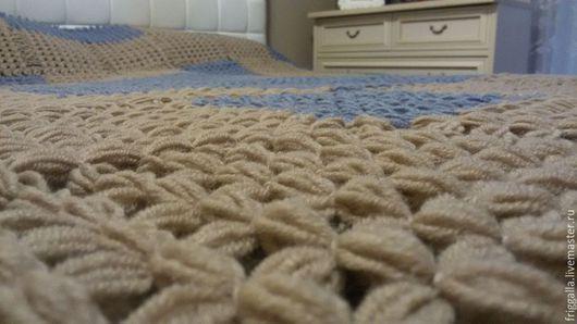 """Текстиль, ковры ручной работы. Ярмарка Мастеров - ручная работа. Купить Плетеный плед - покрывало """"Летняя гроза"""". Handmade. Голубой"""