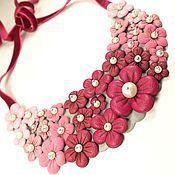 Украшения handmade. Livemaster - original item Pink - Rainbow Etude. necklace made of genuine leather. Handmade.
