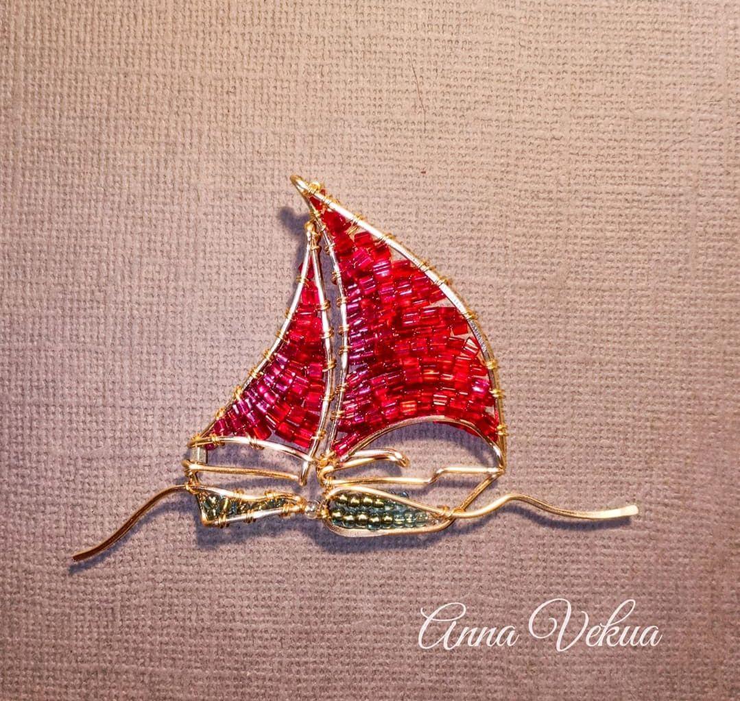 Brooch 'Scarlet sails', Jewelry Sets, St. Petersburg,  Фото №1