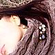 Комплекты аксессуаров ручной работы. Заказать Бежевый снуд шарф хомут труба и брошь коричневая из агата,яшмы и дерев. Mashuta_jewelry. Ярмарка Мастеров.