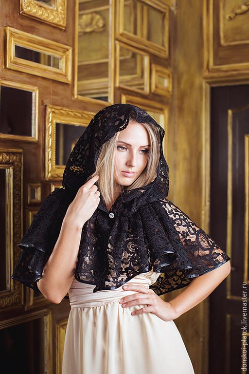 """Шали, палантины ручной работы. Ярмарка Мастеров - ручная работа. Купить платок в храм """"Хлоя"""". Handmade. Черный, подарок женщине"""