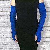 Аксессуары ручной работы. Ярмарка Мастеров - ручная работа Митенки-рукава вязаные эластичные синие купить. Handmade.