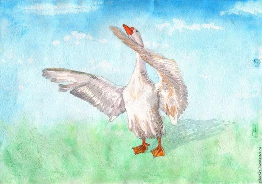 Животные ручной работы. Ярмарка Мастеров - ручная работа. Купить Гусь. Handmade. Голубой, птица, белый, летать, акварельные краски