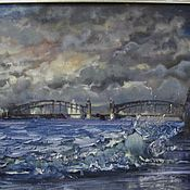 Картины и панно handmade. Livemaster - original item Bolsheokhtinsky bridge in St. Petersburg - the author`s oil painting. Handmade.