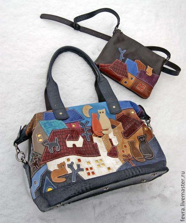 The basis of handbags, and trim are made from the same leather, big bag complements a small purse on a long strap.