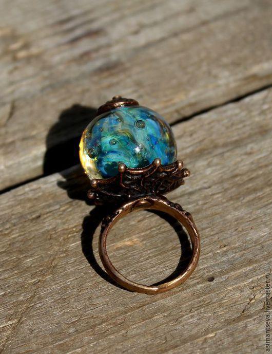 """Кольца ручной работы. Ярмарка Мастеров - ручная работа. Купить Кольцо """"Голубая лагуна"""". Handmade. Разноцветный, медная фурнитура"""