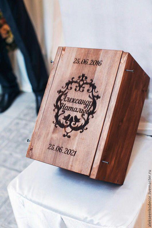 Свадебные аксессуары ручной работы. Ярмарка Мастеров - ручная работа. Купить Деревянная коробка. Handmade. Коричневый, коробка для бутылки, быки