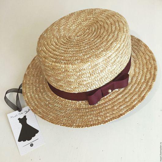 """Шляпы ручной работы. Ярмарка Мастеров - ручная работа. Купить Шляпка """"Канотье"""" Марсала. Handmade. Бежевый, купить канотье"""