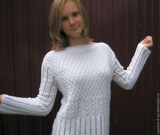 Кофты и свитера ручной работы. Ярмарка Мастеров - ручная работа. Купить Пуловер  женский вязаный (джемпер) белый каскад узоров. Handmade.