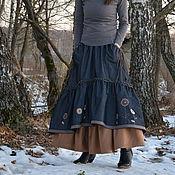 Одежда handmade. Livemaster - original item Skirt boho denim with pockets