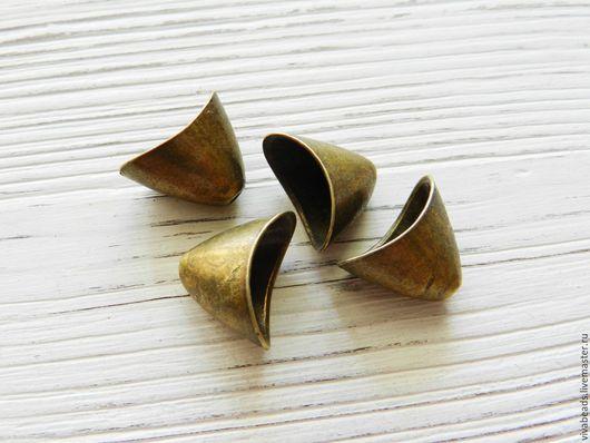 Шапочка концевик БРОНЗА, размер 20*13 мм, отверстие 1,5 мм, материал - сплав металлов, не содержит свинца и кадмия (арт. 1998-Б)
