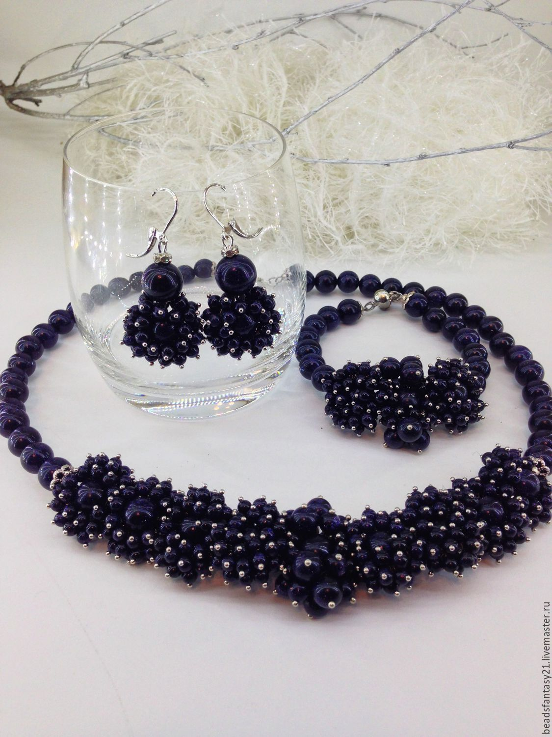 Set jewelry made from natural dark blue stone Sandstone.hedgehogs, Jewelry Sets, Riga,  Фото №1