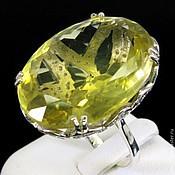 Кольцо цитрин сапфир р.17,5 серебро 925