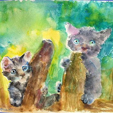 Картины и панно ручной работы. Ярмарка Мастеров - ручная работа Котята на заборе картина. Handmade.