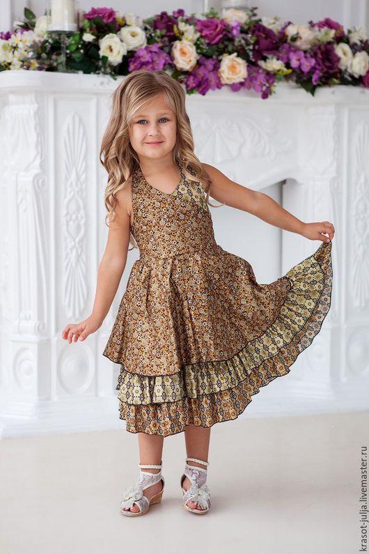 Одежда для девочек, ручной работы. Ярмарка Мастеров - ручная работа. Купить Золотистое платье. Handmade. Золотой, Платье нарядное