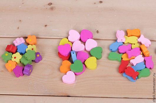 Для украшений ручной работы. Ярмарка Мастеров - ручная работа. Купить Бусины деревянные сердце, рыбка, цветок. Handmade. Разноцветный