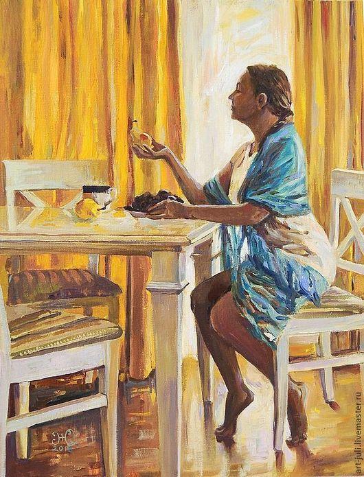 """Люди, ручной работы. Ярмарка Мастеров - ручная работа. Купить картина маслом """"С грушей у окна"""" 45х35. Handmade. Желтый"""