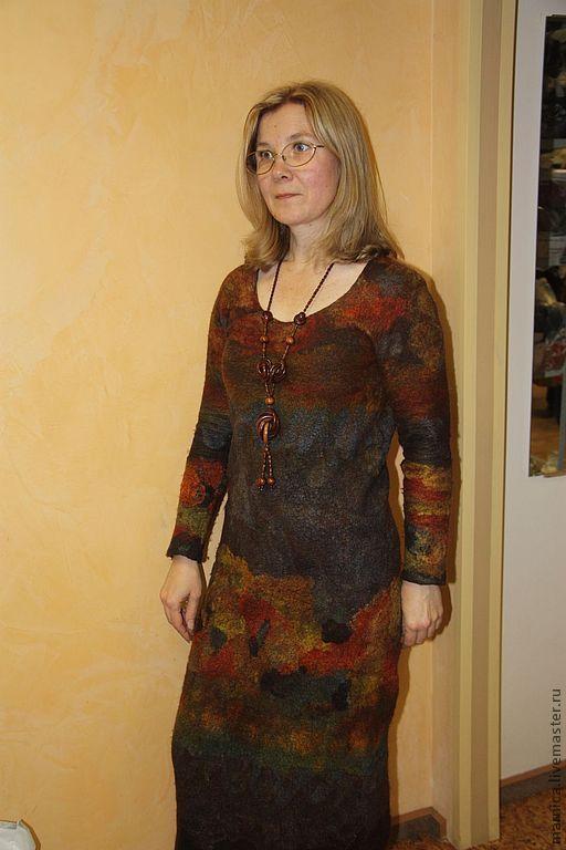 """Платья ручной работы. Ярмарка Мастеров - ручная работа. Купить Валяное платье """"Осенняя фантазия"""". Handmade. Платье, нарядное платье"""