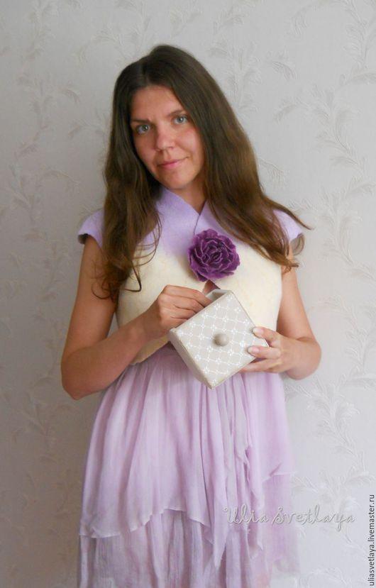 Дизайнер Юлия Светлая, валяное болеро, валяный жилет, сиреневый жилет, кремовый жилет, купить валяный жилет, нежность