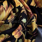Аксессуары handmade. Livemaster - original item Black and gold silk neckerchief. Handmade.