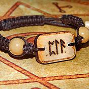 Mascots handmade. Livemaster - original item A charm bracelet with runescript SNEZANA, wood, cord, netting. Handmade.
