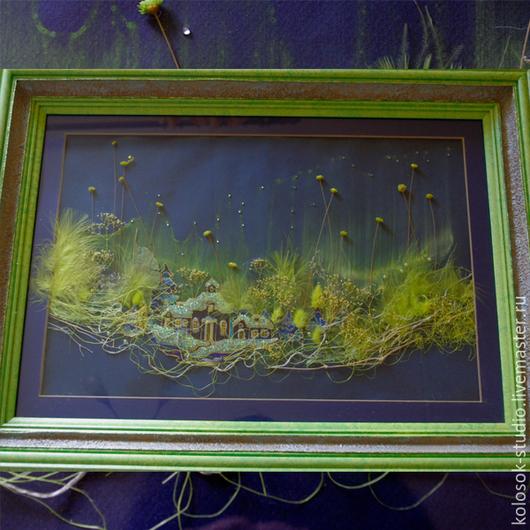 """Пейзаж ручной работы. Ярмарка Мастеров - ручная работа. Купить Флористический коллаж """"Северное сияние"""". Handmade. Зеленый, картина"""