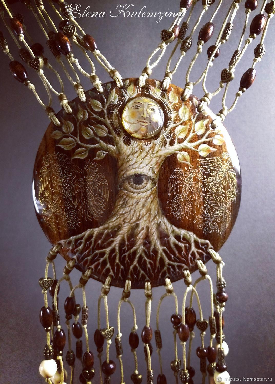 """Кулоны, подвески ручной работы. Ярмарка Мастеров - ручная работа. Купить """"Древо Жизни"""" нагрудное украшение. Handmade. Роспись по дереву"""