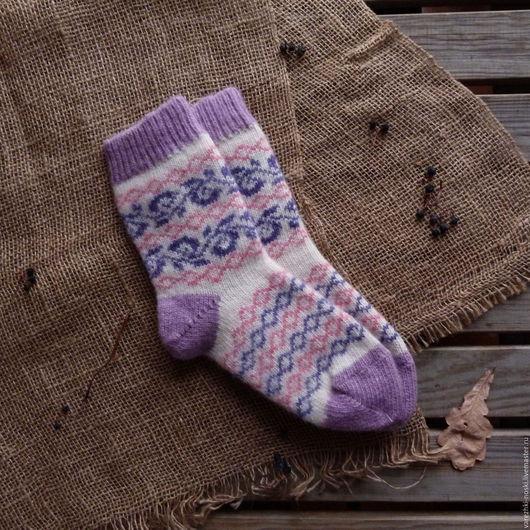 Носки, Чулки ручной работы. Ярмарка Мастеров - ручная работа. Купить Носки уютные сиреневые с узорами. Handmade. Комбинированный, рисунок