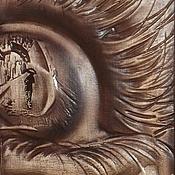 Картины и панно ручной работы. Ярмарка Мастеров - ручная работа Резное дерево_Ушел (по мотивам работы Исаия Стивенс). Handmade.