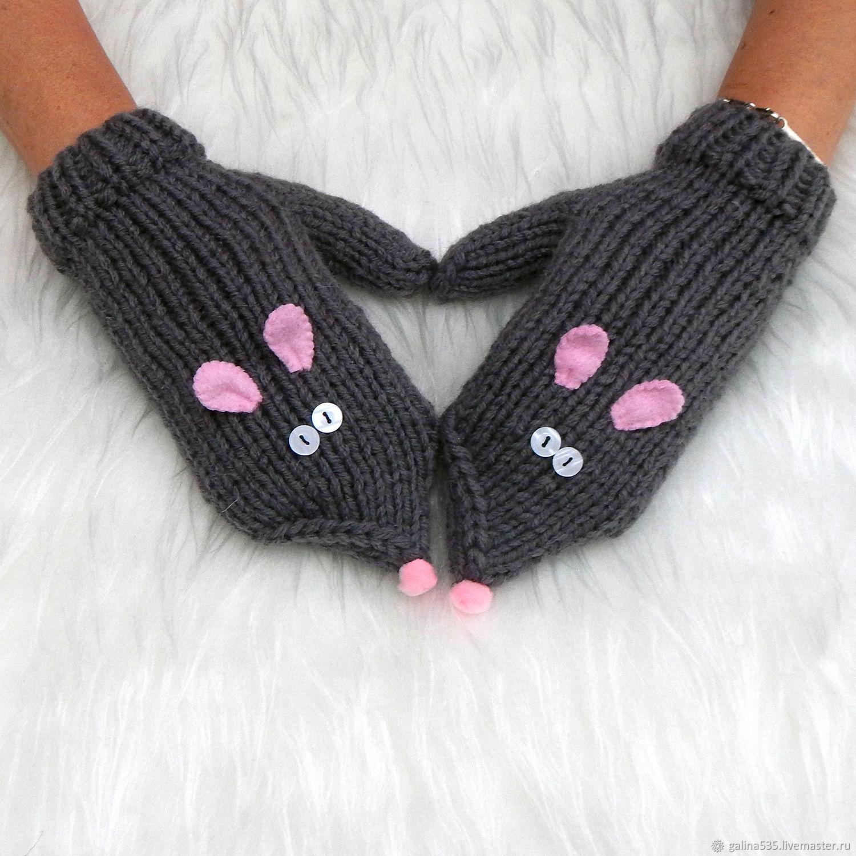 женские вязаные варежки мышки спицами купить в интернет магазине