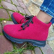 Обувь ручной работы. Ярмарка Мастеров - ручная работа Эко кроссовки из шерсти Вишневый сироп. Handmade.