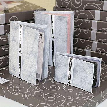 Аксессуары ручной работы. Ярмарка Мастеров - ручная работа Подарочный набор из кожи Белый под питона. Handmade.
